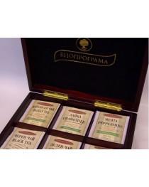 Дървена кутия с 6 вида чай (тъмна)